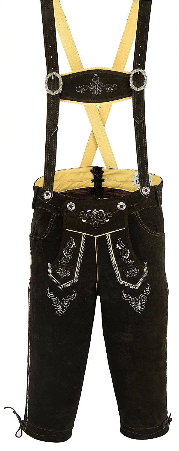 RIDEX Mens Bavarian LEDERHOSEN with Matching Suspenders Cowhide Leather Various Sizes