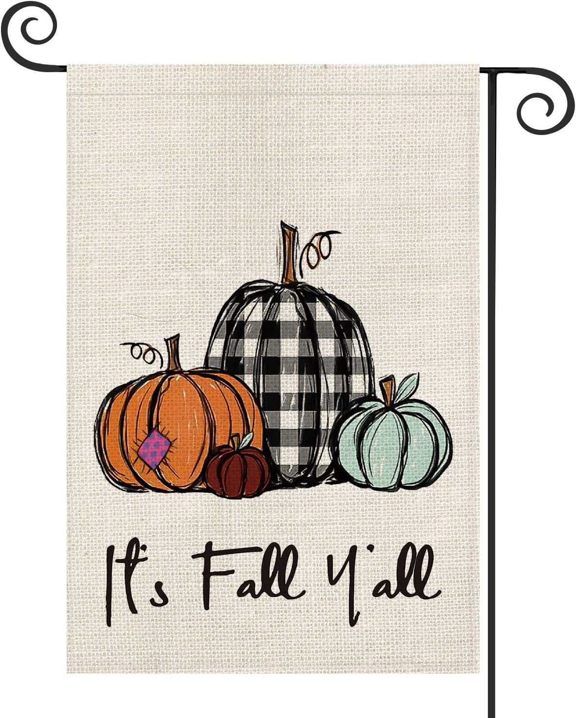 AVOIN It's Fall Y'all Buffalo Plaid Pumpkin Polka Dot Patch Garden Flag Vertical Double Sized, Autumn Thanksgiving Holiday Yard Outdoor Decoration 12.5 x 18 Inch