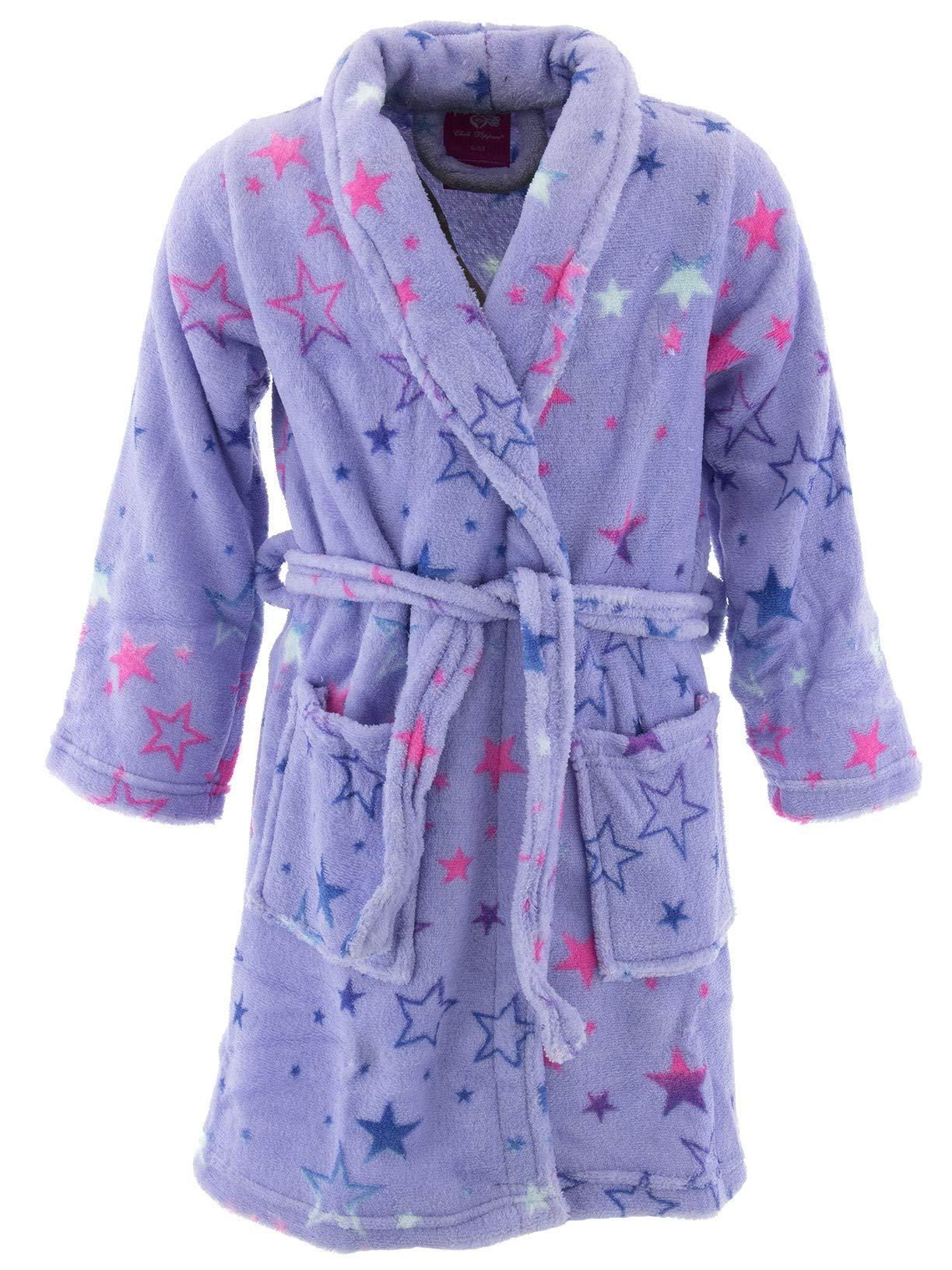 Chili Peppers Little Girls' Lavender Stars Fleece Bathrobe 4-5