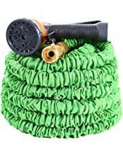 50 Feet Expandable Garden Hose, Ohuhu Expanding Hose,Flexible Water Hose with 3/4 Solid All Brass Fittings Connector & 8 Function High Pressure Spray Nozzle