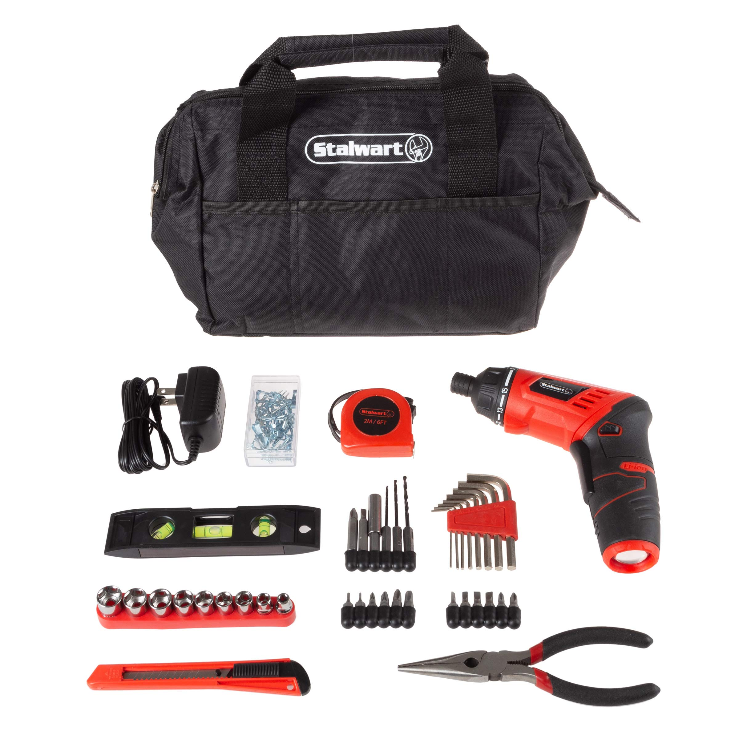 Stalwart 3.6V Cordless Drill with Rechargeable Lithium Ion Battery & 121Piece Accessory Set - Portable Power Tool with Bits, Drivers & Bag