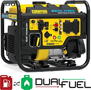 Champion Power Equipment 100574 4000-Watt RV Ready Digital Hybrid Inverter Generator, with Dual Fuel Technology, Black and Yellow
