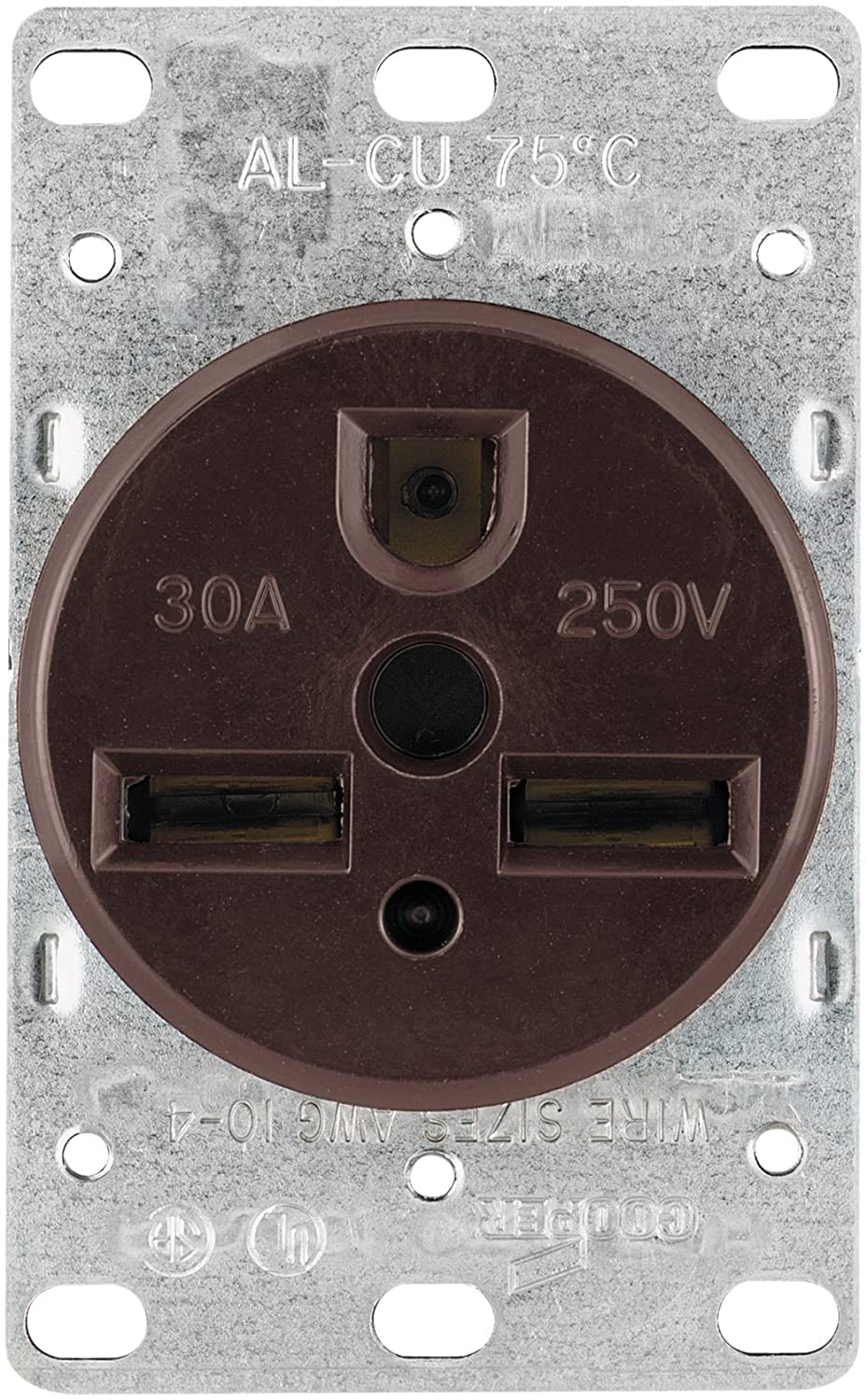 Eaton 1234 30 Amp 2 Pole 3 Wire 250 Volts Heavy Duty 50 Surface Range Receptacle Together With Nema 14 Wiring Grade Flush Mount Power Brown Home Improvement
