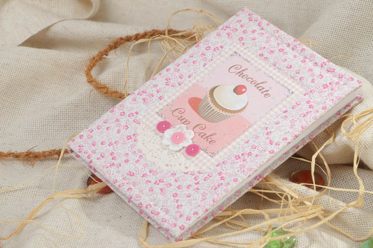 Handmade Designer Copybook With A Pink Cotton Cover For A Girl