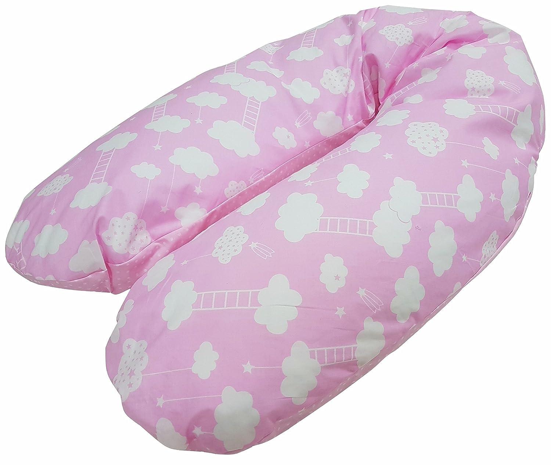'babymajawelt® Mini estrellas, EPS con microperlas relleno de bolas de embarazo almohada cojín para embarazo y lactancia con relleno de perlas (aprox. 190x 64cm azul Big DREAM blau Babymajawelt®