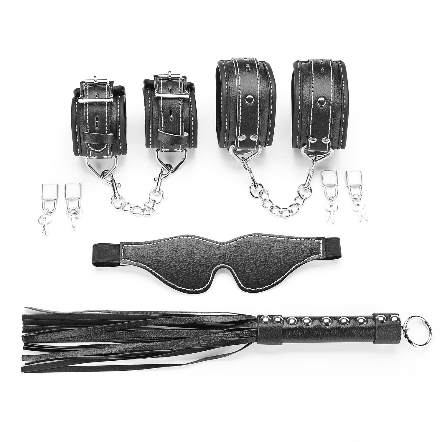 exreizst Adjustable Leather Cuffs for Ankle-Hand-Wrist with Nylon Straps Set