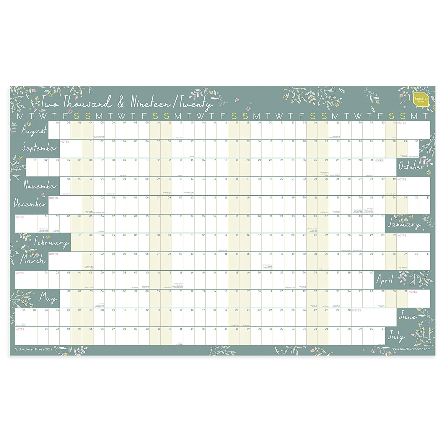 Calendario 2020 2020.Boxclever Press 2019 2020 Academic Wall Planner Calendar