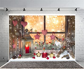 aofoto 8x6ft christmas decoration photography background snowflake backdrops candle lantern stars xmas window sill new year - Window Sill Christmas Decorations