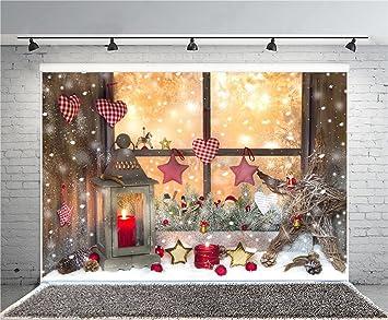 aofoto 8x6ft christmas decoration photography background snowflake backdrops candle lantern stars xmas window sill new year - Window Sill Christmas Decorations