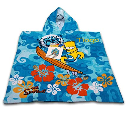 Kid s Boys regalo personalizado baño y playa piscina Poncho con capucha – The Simpsons