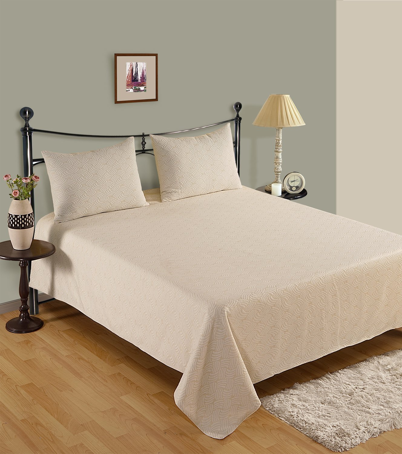 linenwalas Luxury MatelasseベッドスプレッドCoverlet Twin/Twin XL イエロー US_BED_183-T B0753DXM5S Pale Yellow Pattern Twin/Twin XL