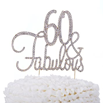 Ella Celebration 60 Fabulous Cake Topper 60th Birthday Party Supplies Gold Decorations
