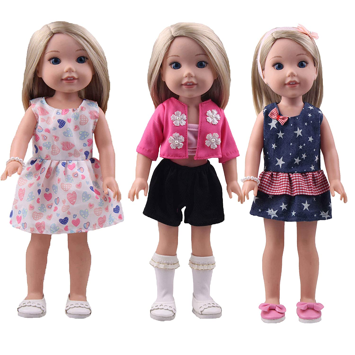 BBTOYS 14inch Outfit Doll Clothes - Including 3sets of Complete Doll Costume + 1 Pair of Hair Terry +1 Hair Band +1 Bracelet Accessories fit American Girl Wellie Wishers Doll