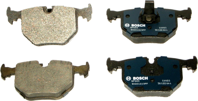Bosch BP683 QuietCast Premium Semi-Metallic Disc Brake Pad Set For Select BMW 330Ci, 330i, 330xi, 525i, 525xi, 740i, 740iL, 750iL, M3, M5, X3, X5, Z4, Z8; Land Rover Range Rover; Rear