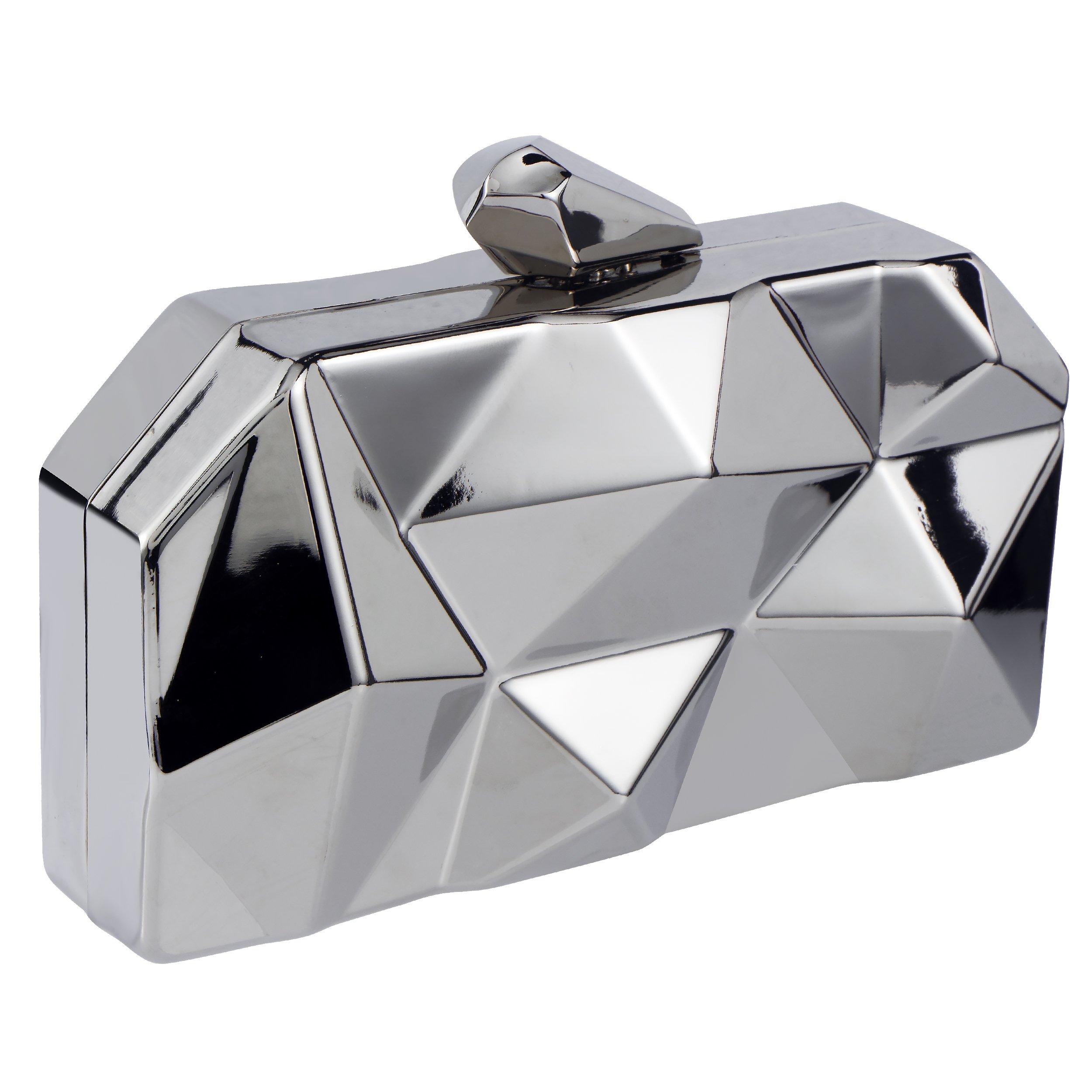 Bagood Women's Evening Bags Clutches Purses Metal Diamond Handbag Shoulder Bag for Wedding Bridal Prom Party Silver