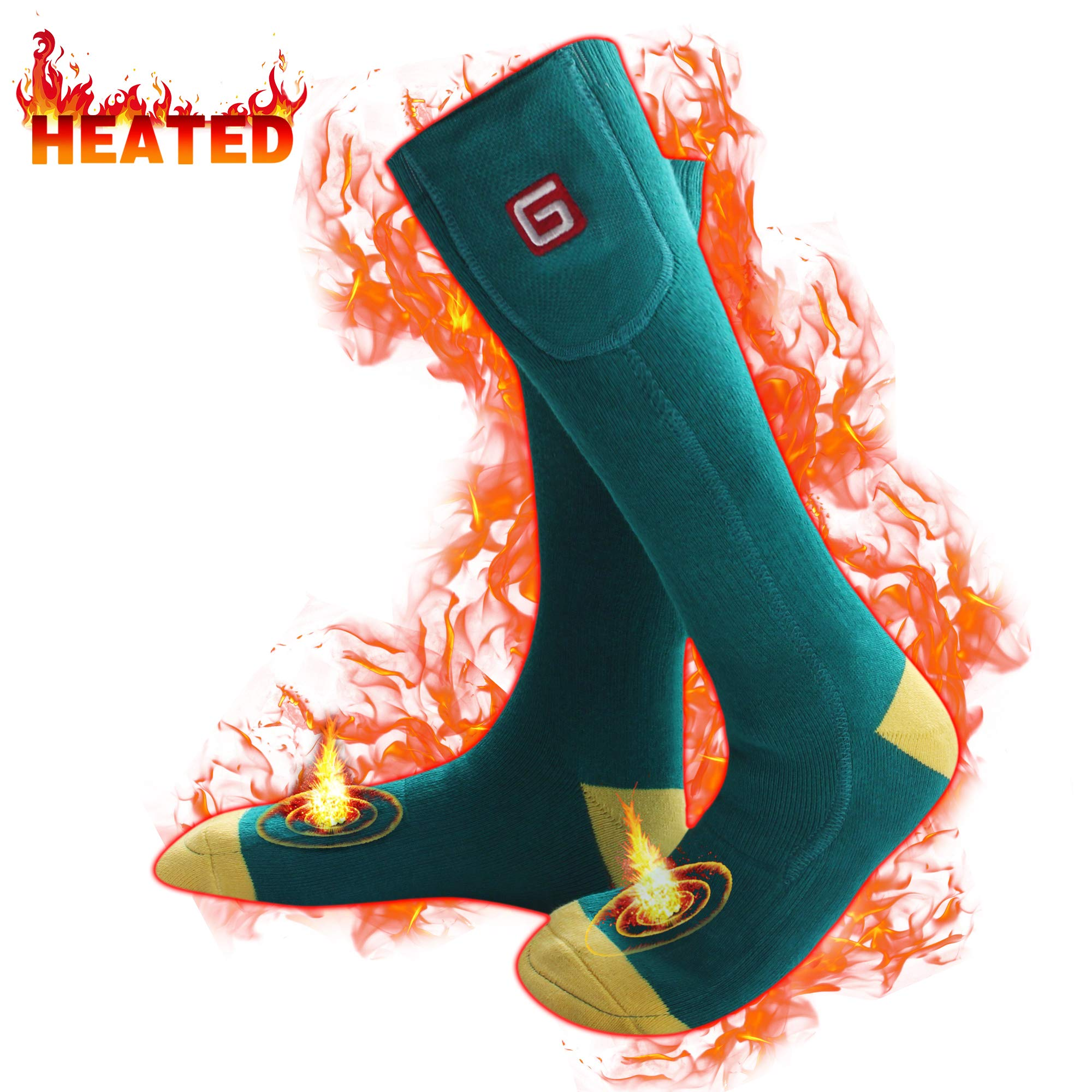 Men's Heated Hiking Socks for Cold Weather Rechargeable Batteries Thermal Insulated Foot Warmers for Chronically Cold Feet,Perfect for Hunting Hiking Shredding, Riding Electric Batteries(Green-yellow) by MMlove