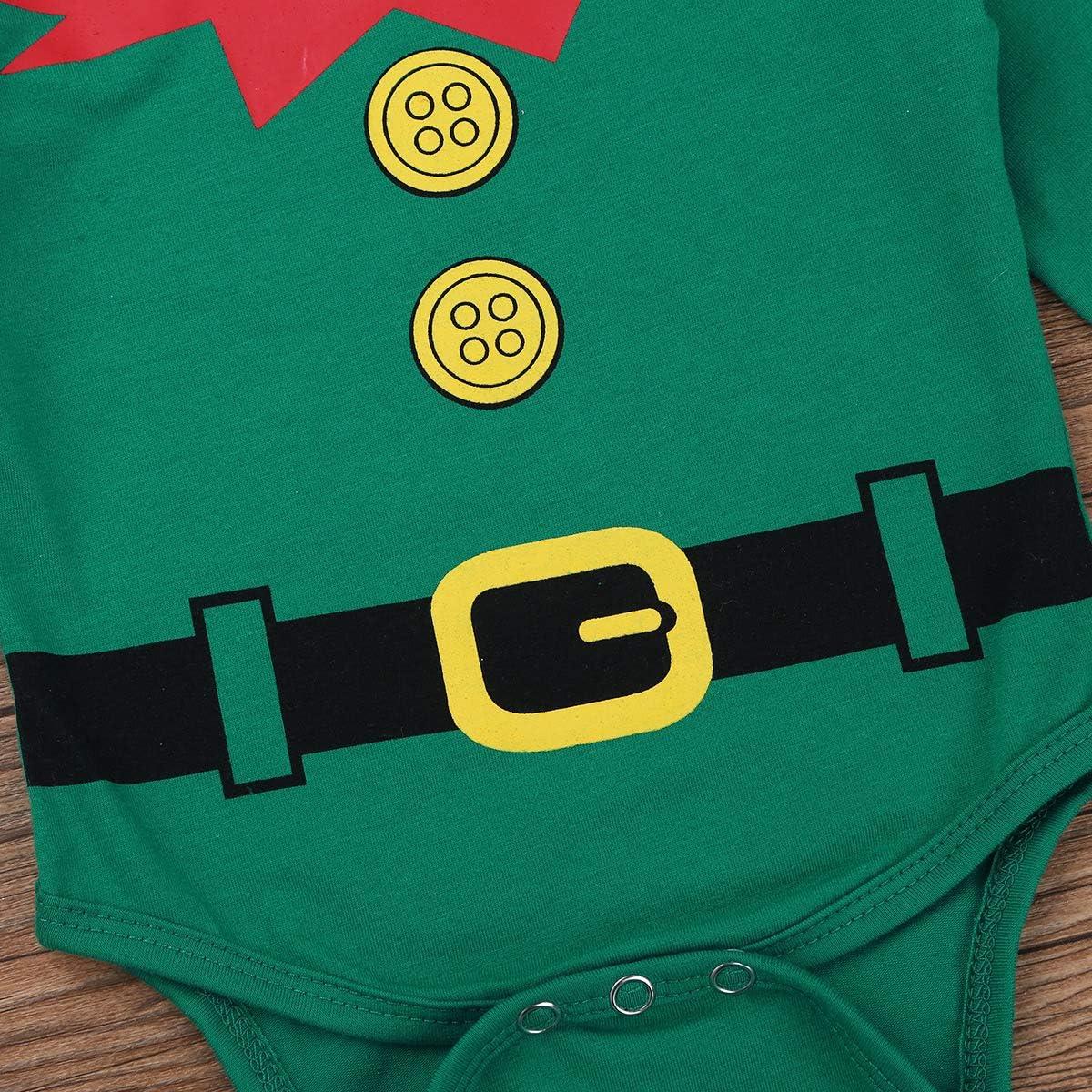 YiZYiF Neonato Natale Completini 3 Pezzi Tutine in Cotone Costume da Elfo Pagliaccetto Body Cime//Pantaloni//Cappello Set Manica Lunga Piagima Natale Invernale 0-18 Mesi