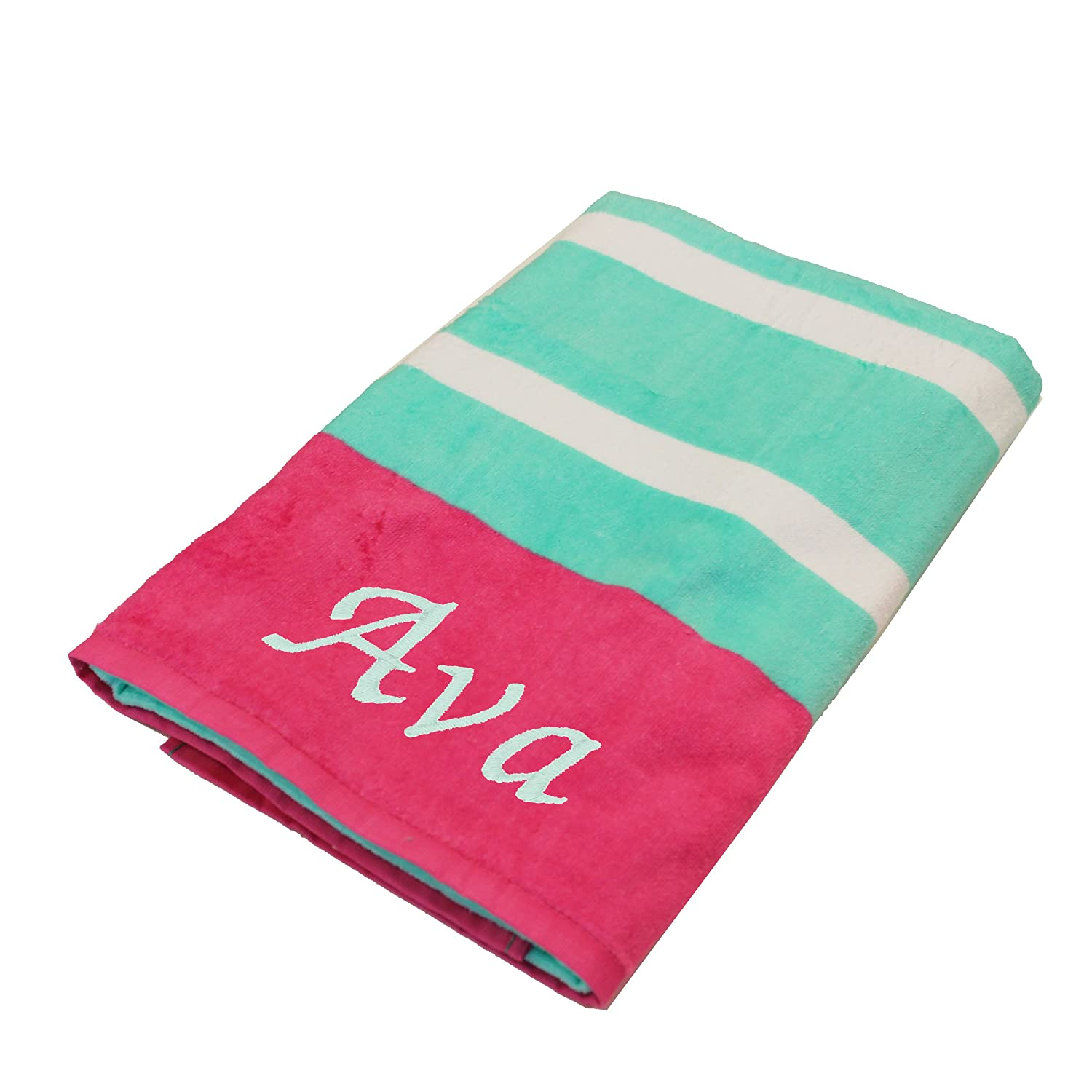 Personalized Beach Towels Monogrammed Gifts For Kids Her Him Custom Embroidered Towel Teal With Pink