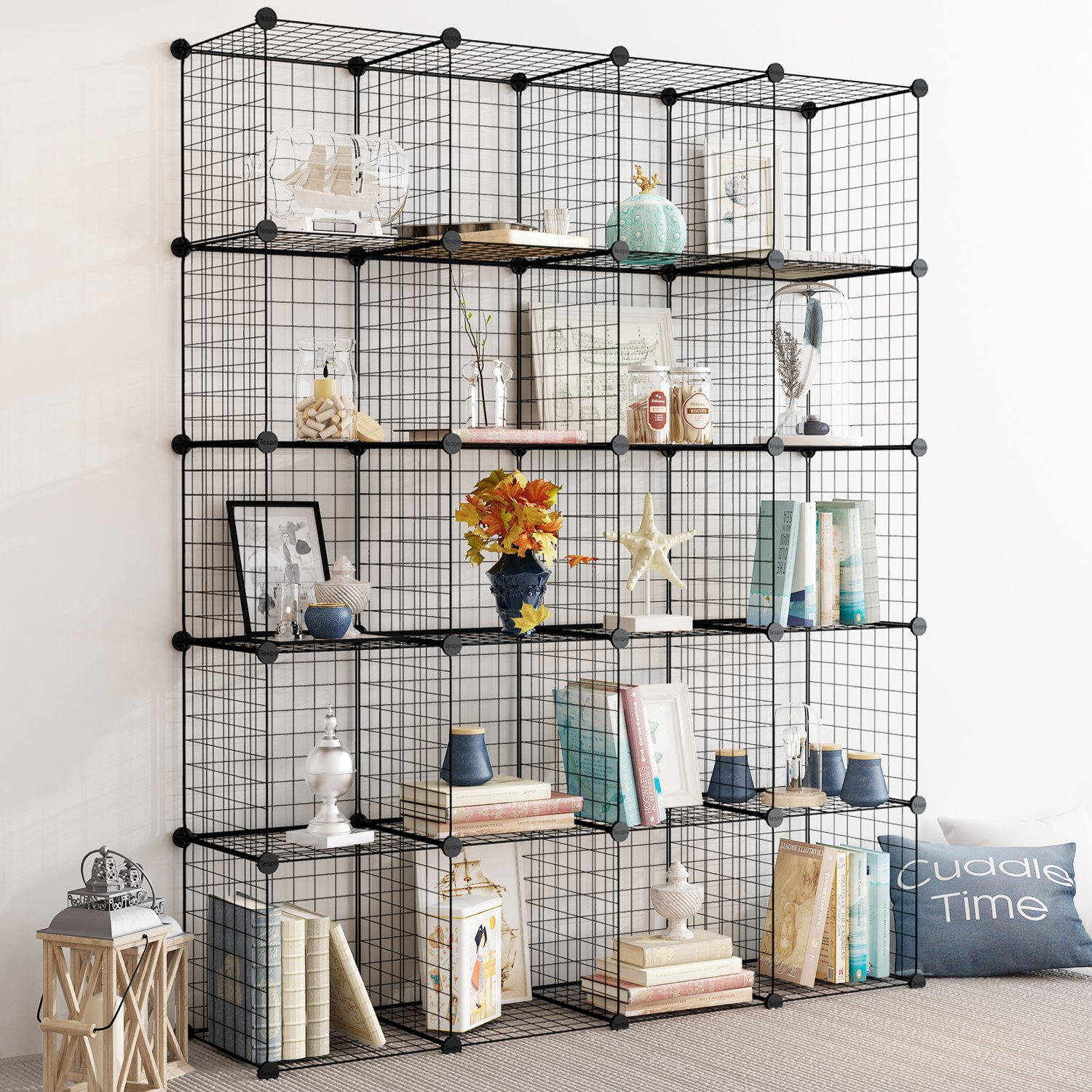 Tespo Wire Storage Cubes Modular Shelving Unit DIY Metal Grid Closet Organizer System, Bookcase, Cabinet (20Cubes) by Tespo