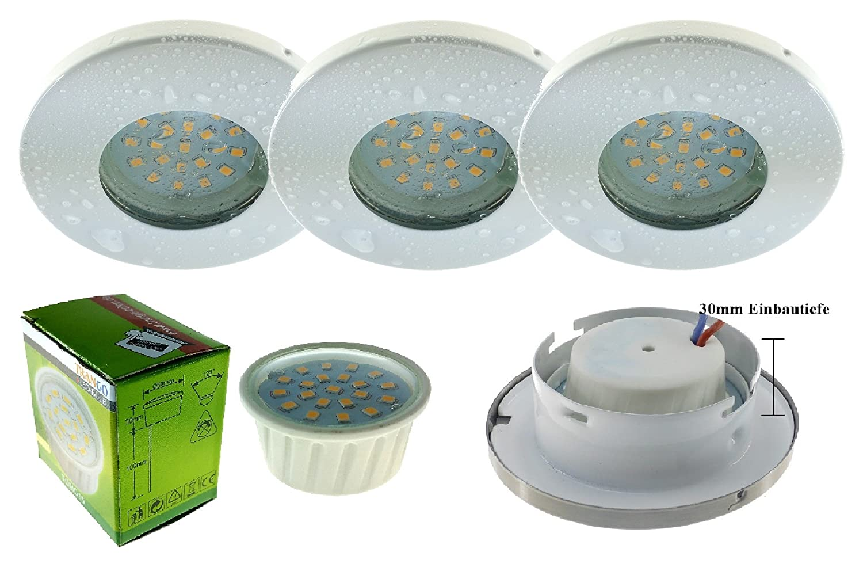 Set di 3 IP44 faretto da incasso orientabile Trango rotondo con 3 x 3 W modulo LED solo 3 cm profondità bagno doccia bianco [Classe di efficienza energetica A+] IP44 Einbaustrahler