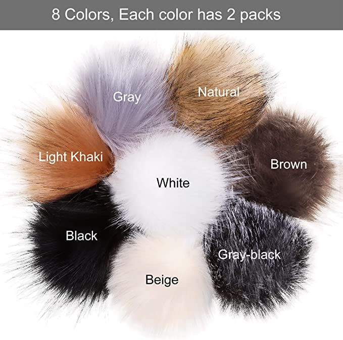 Scarf Shoes Tengsen DIY 16 Pieces //10cm Faux Fur pom pom Knitted hat Key Chain DIY Accessories, Bag Artificial Raccoon Hair in 16 Colors Gloves