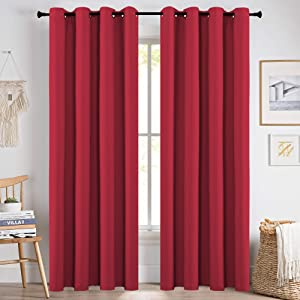 KEQIAOSUOCAI Set of 2 Red Curtains 84 Inches Long for Nursery Blackout Grommet Windows Drapes Panels for Home Decor Party