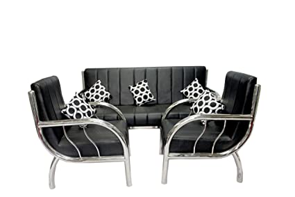 New Nazrana Steel Sofa Set Black Amazon In Electronics