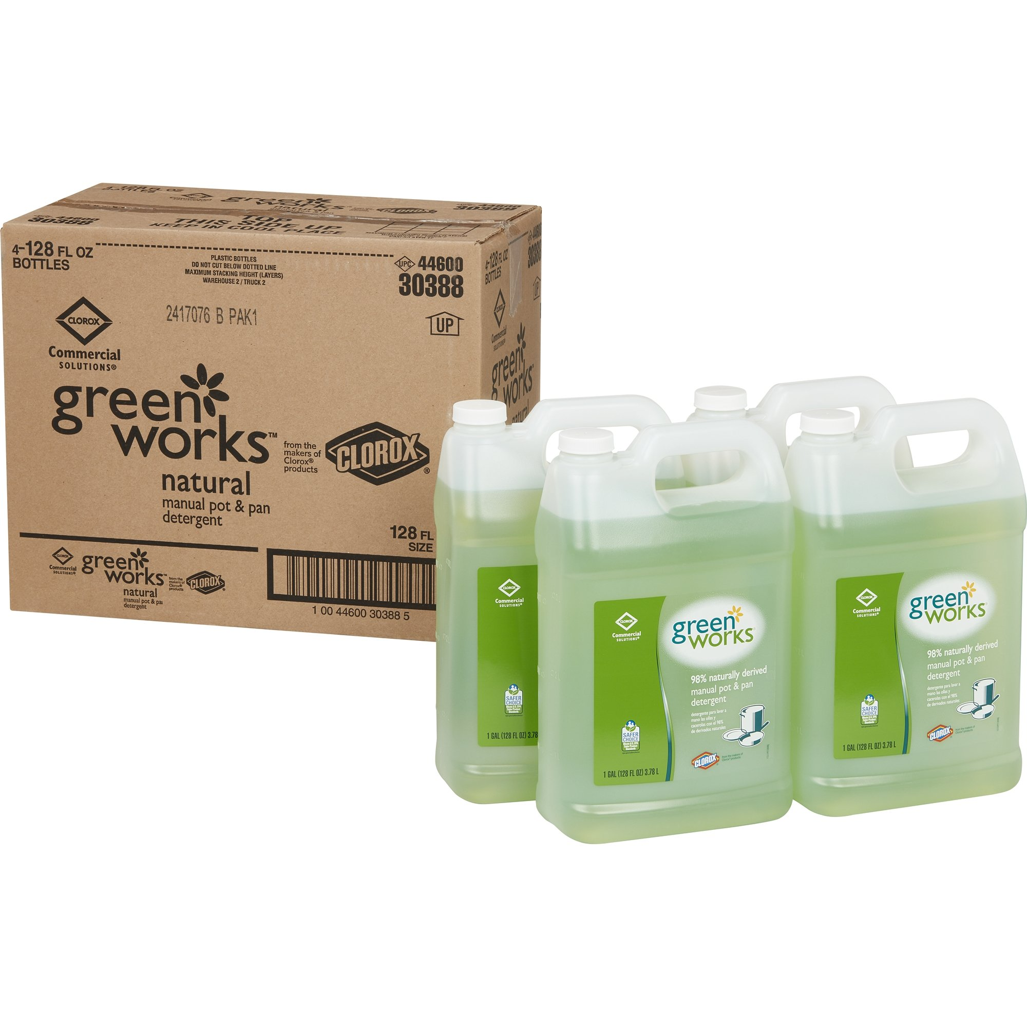 Green Works 10044600303885 Manual Pot & Pan Dishwashing Liquid, 128 oz. (Pack of 4)