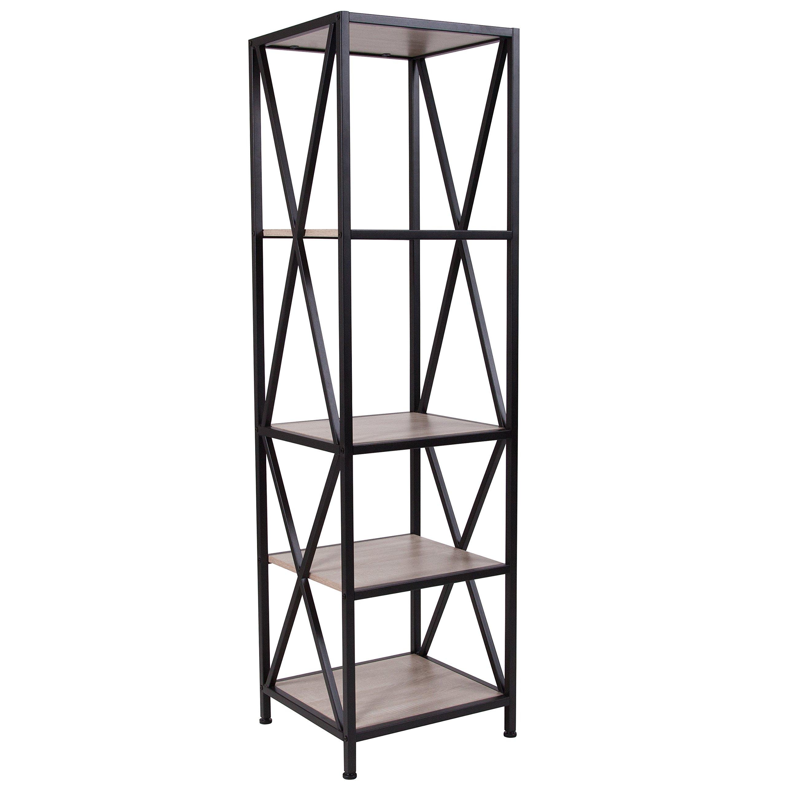 Flash Furniture Chelsea Collection Sonoma Oak Wood Grain Finish Storage Shelf with Metal Frame