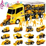 20 in 1 Die-cast Construction Truck with Realistic engine sounds and flashing headlights, Toy Car Play Vehicles in…