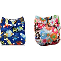 Babymoon (Set of 2) Premium Washable Cloth Diaper for Babies, Designer, Reusable, Adjustable Size, Waterproof, Pocket Cloth Diaper Nappie (Without Inserts)