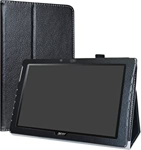 "Acer Iconia One 10 B3-A40 Case,LiuShan PU Leather Slim Folding Stand Cover for 10.1"" Acer Iconia One 10 B3-A40 Android Tablet,Black"