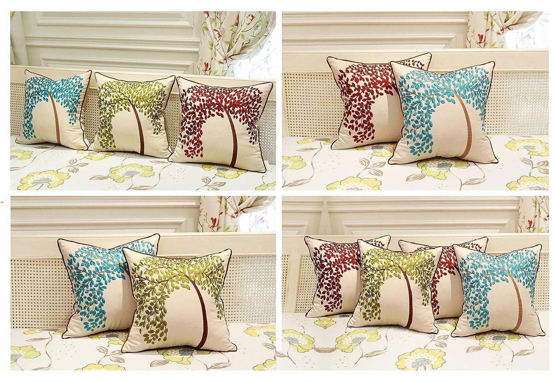 Federa decorativa per cuscino /L/'albero della vita ZUODU Lt-red-2pc Cotone//cotone misto//lino rosso con cornice ricamata in cotone e lino 45 x 45 Centimeters 45/x 45/cm/