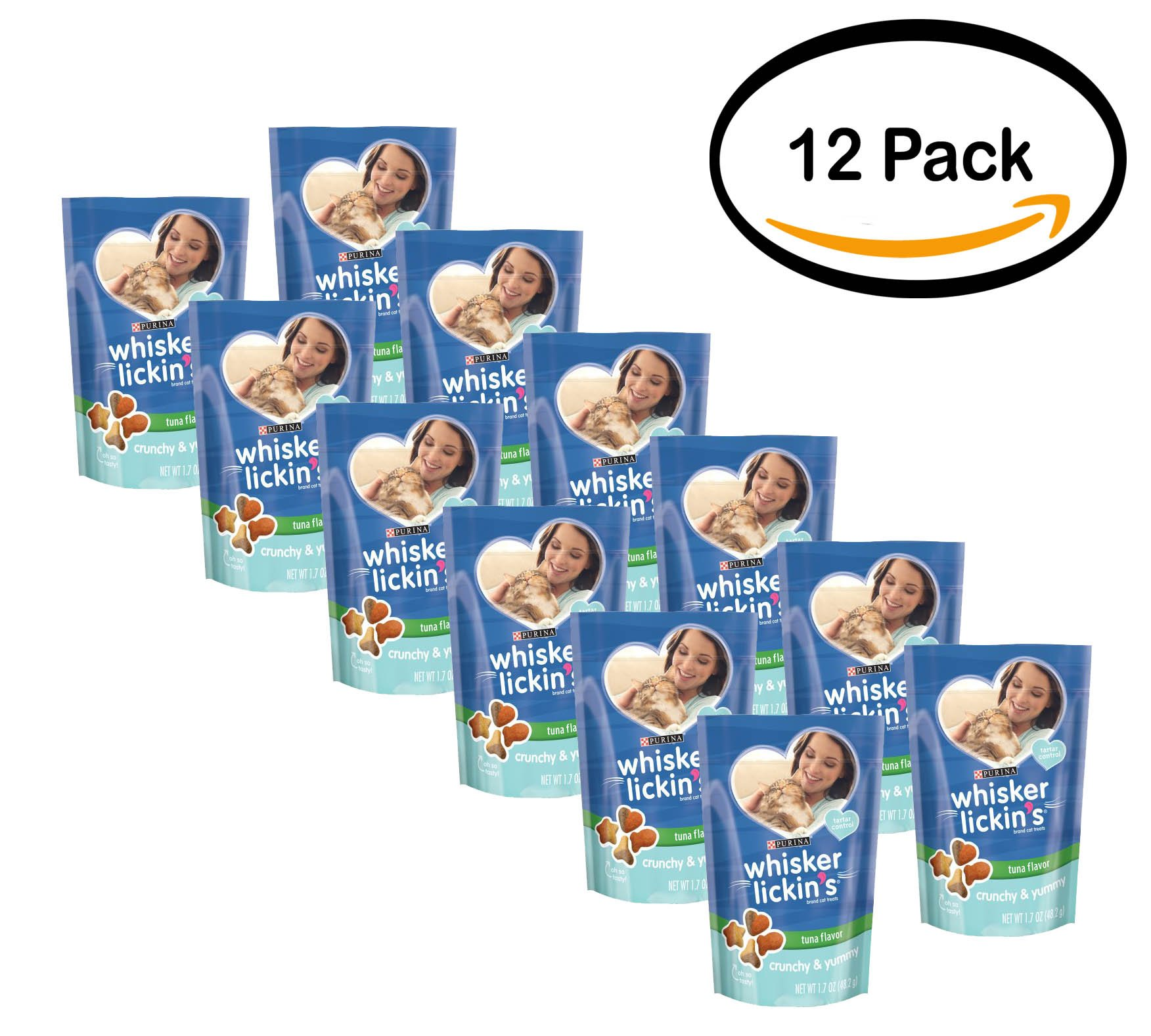 PACK OF 12 - Purina Whisker Lickin's Crunchy & Yummy Tuna Flavor Cat Treats 1.7 oz. Pouch