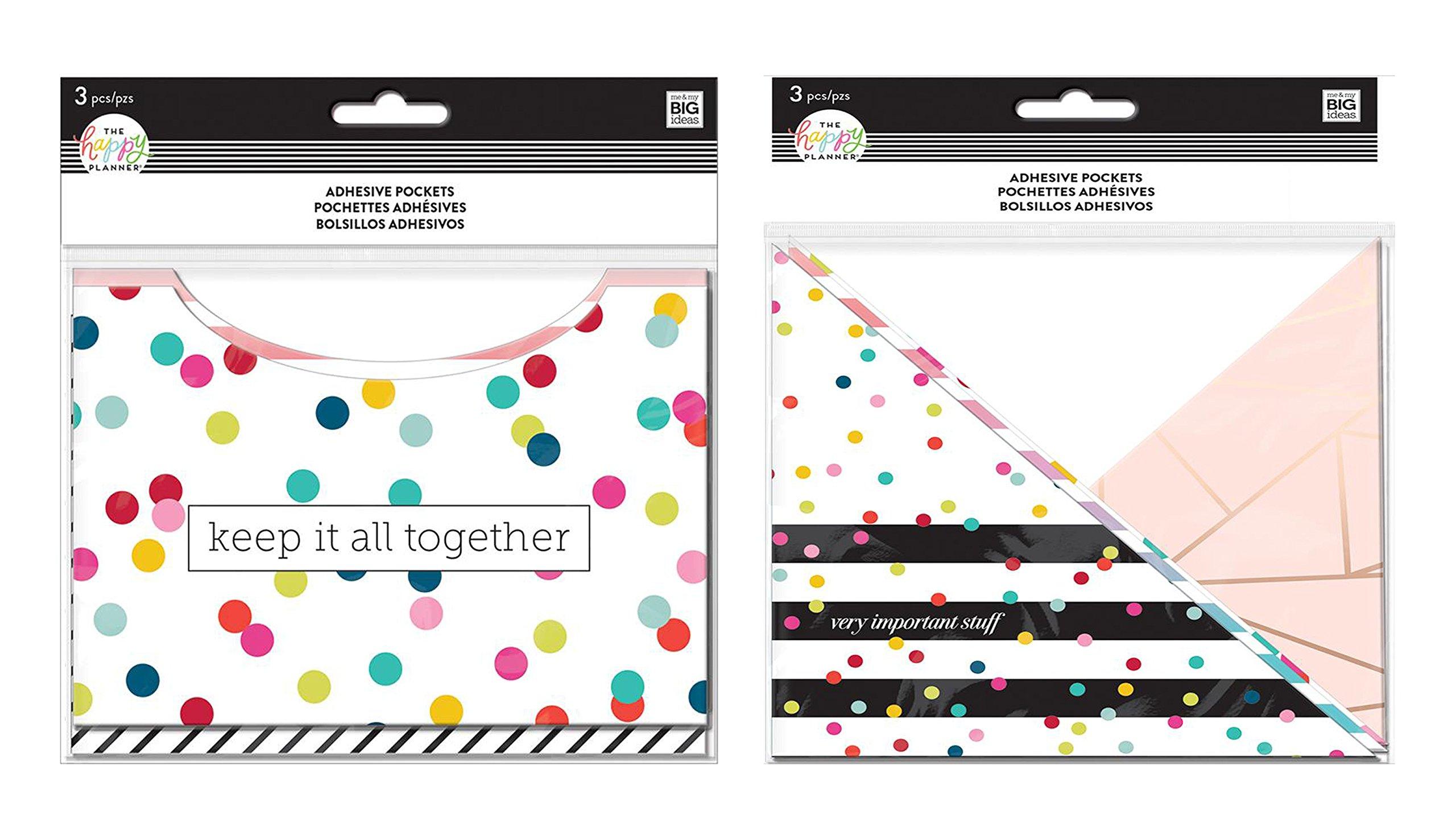 me & My Big Ideas Create 365 Adhesive Pockets Rainbow Stripes and Multi Dot Grid (Set of 2)