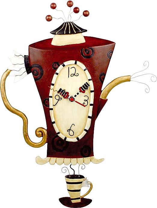 Coffee Cups Design W Pendulum Colorful Wall Clock Kitchen Home Decor 15 H Wall Clocks Home Garden