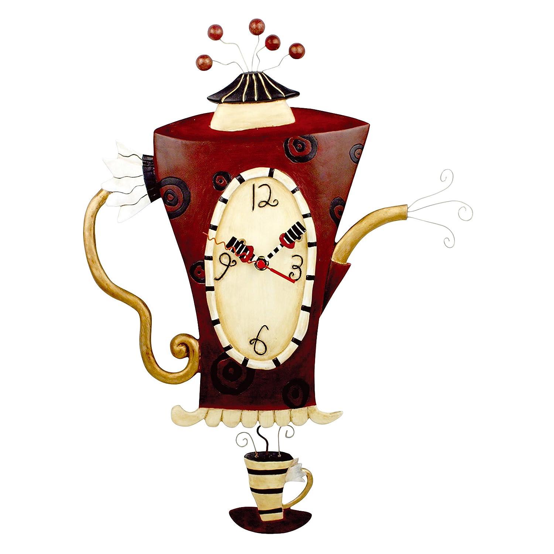 Amazon Allen Designs Steamin Tea Teapot Pendulum Wall Clock