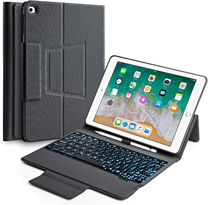 New Black iPad 360 Air 2 case stand set with external charger battery LED cable