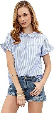 6648fd01494d SheIn Women s Cute Striped Peter Pan Collar Short Sleeve Babydoll Blouse Top