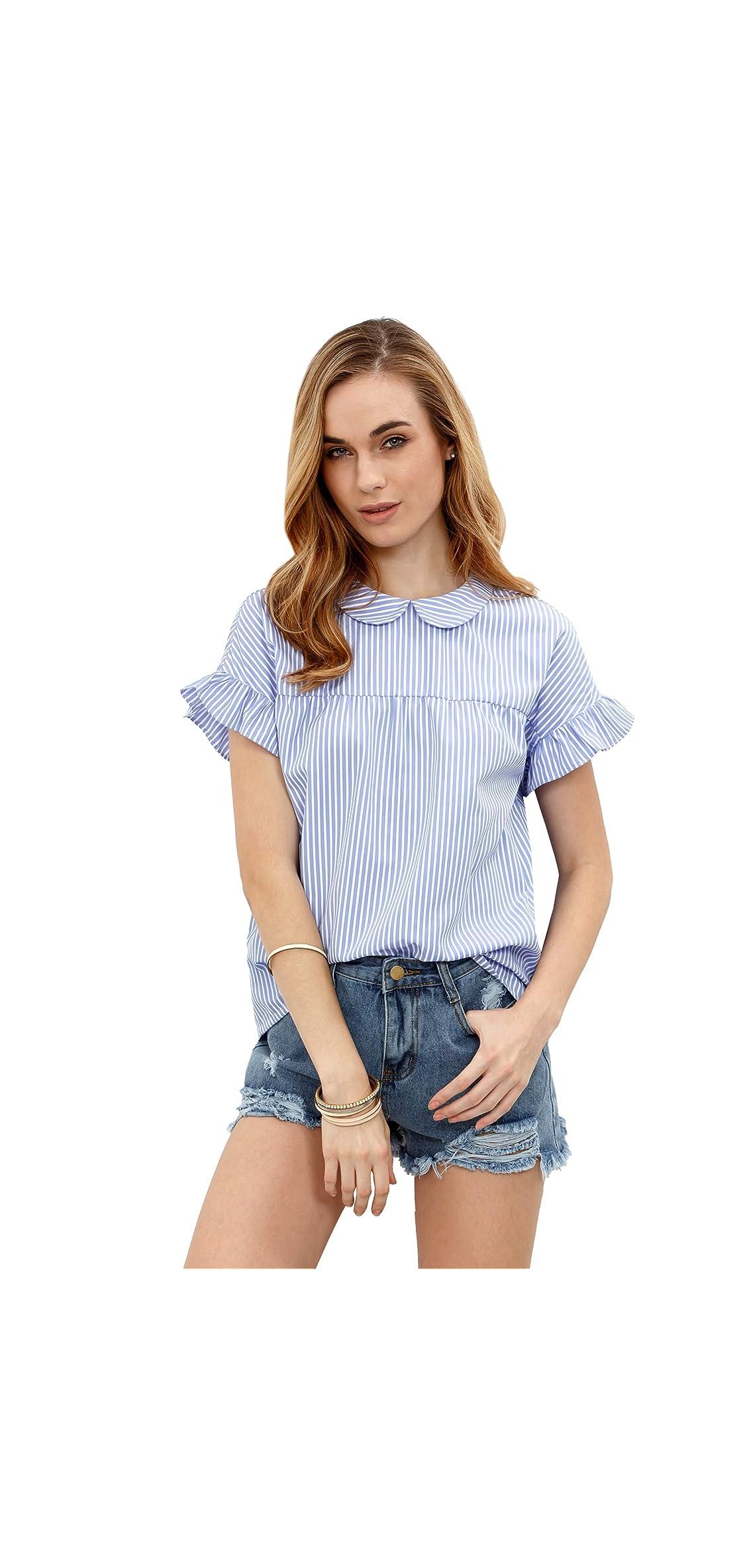 Women's Cute Striped Peter Pan Collar Short Sleeve Blouse