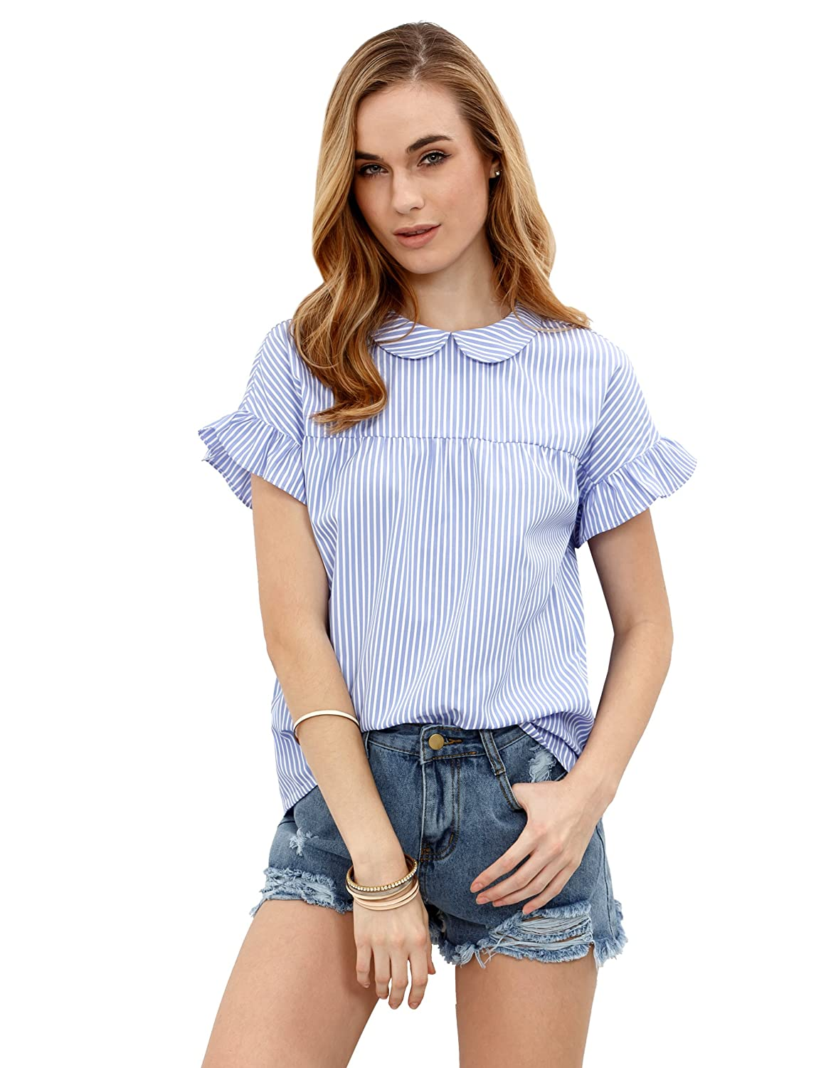 2dbfab78ae Peter pan collar,striped,ruffle short sleeve,and back bow tie blouse top.  Cute and stylish, easily match with your pants,skirt,jeans,ect.