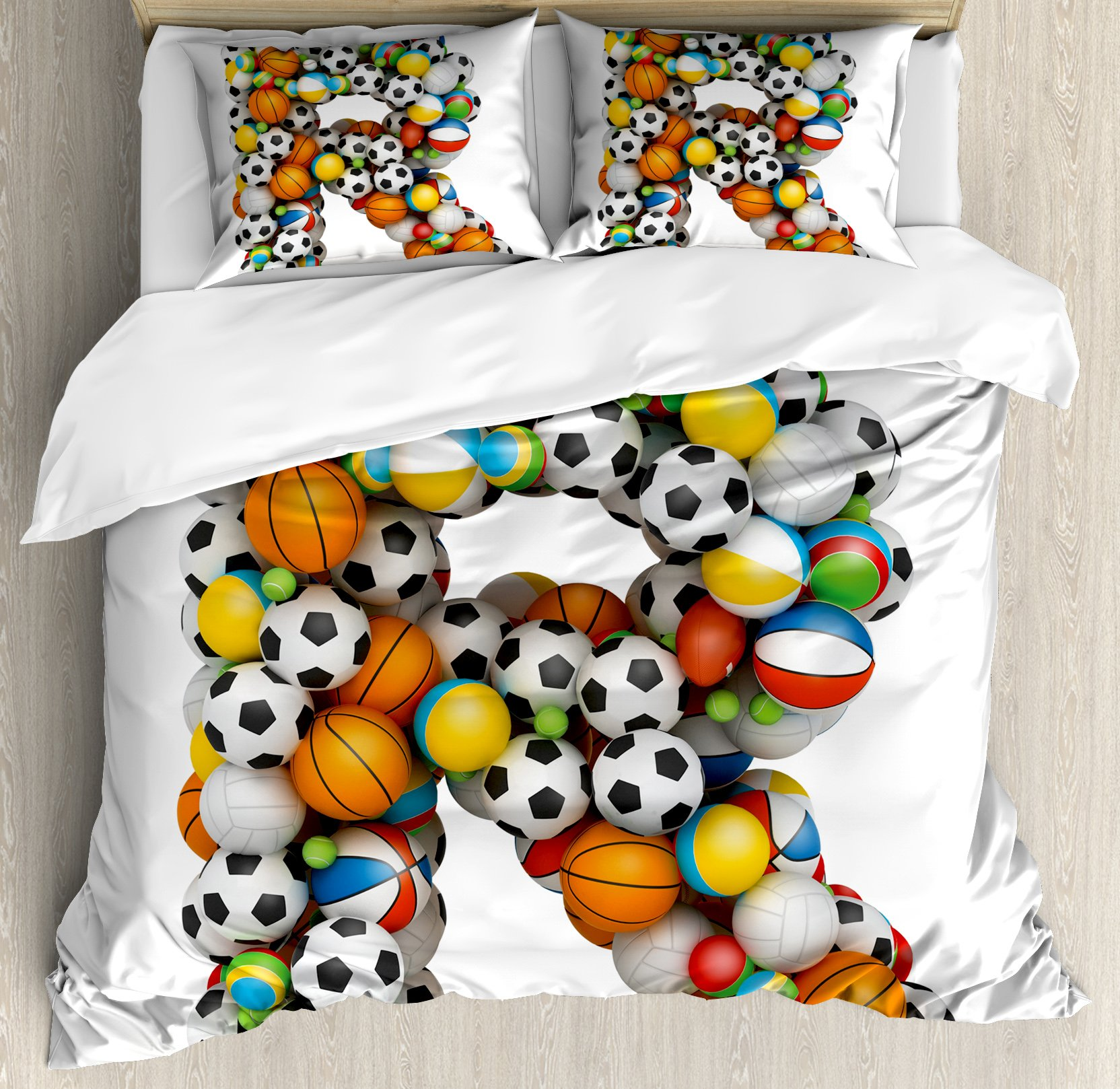 Letter R Duvet Cover Set Queen Size by Ambesonne, Realistic Looking Volleyball Basketball Soccer Balls Language of the Game Theme, Decorative 3 Piece Bedding Set with 2 Pillow Shams, Multicolor