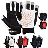 MRX BOXING & FITNESS Sailing Gloves Sticky Palm Gripy Glove Yachting Kayak Dinghy Fishing Short Finger Multi Colors (Black/Wh