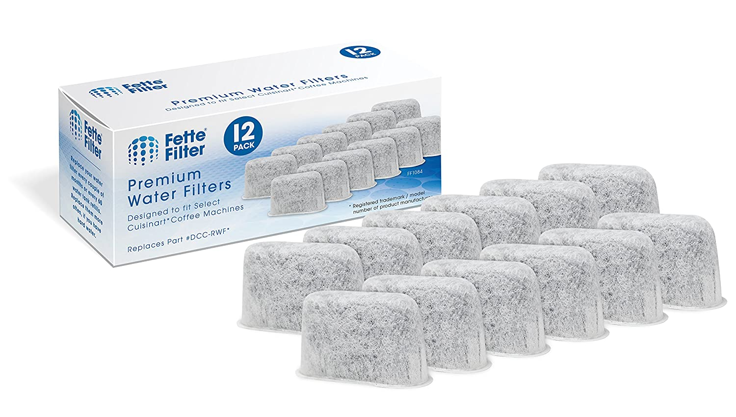 Fette Filter - Activated Charcoal Water Filters for Coffee Machines DCC-RWF Compatible for Cuisinart. (Pack of 12) FF1084