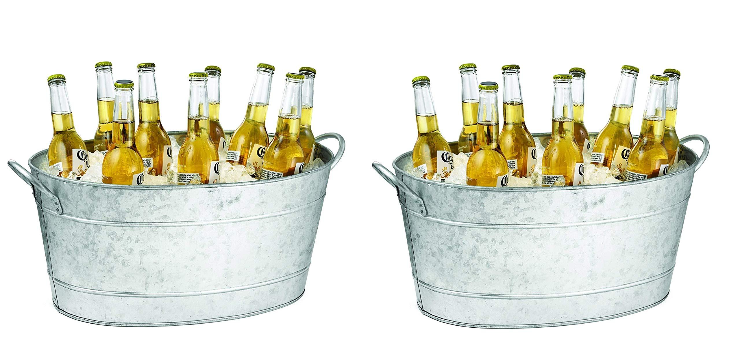 Tablecraft IR 4033 Galvanized Beverage Tub, 5.5 Gallon Silver (Pack of 2)