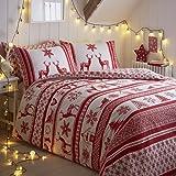 Tony's Textiles - Parure de lit - Motif Flocons/Renne/Noël - Rouge/Blanc - lit 2 Personnes (Super King)
