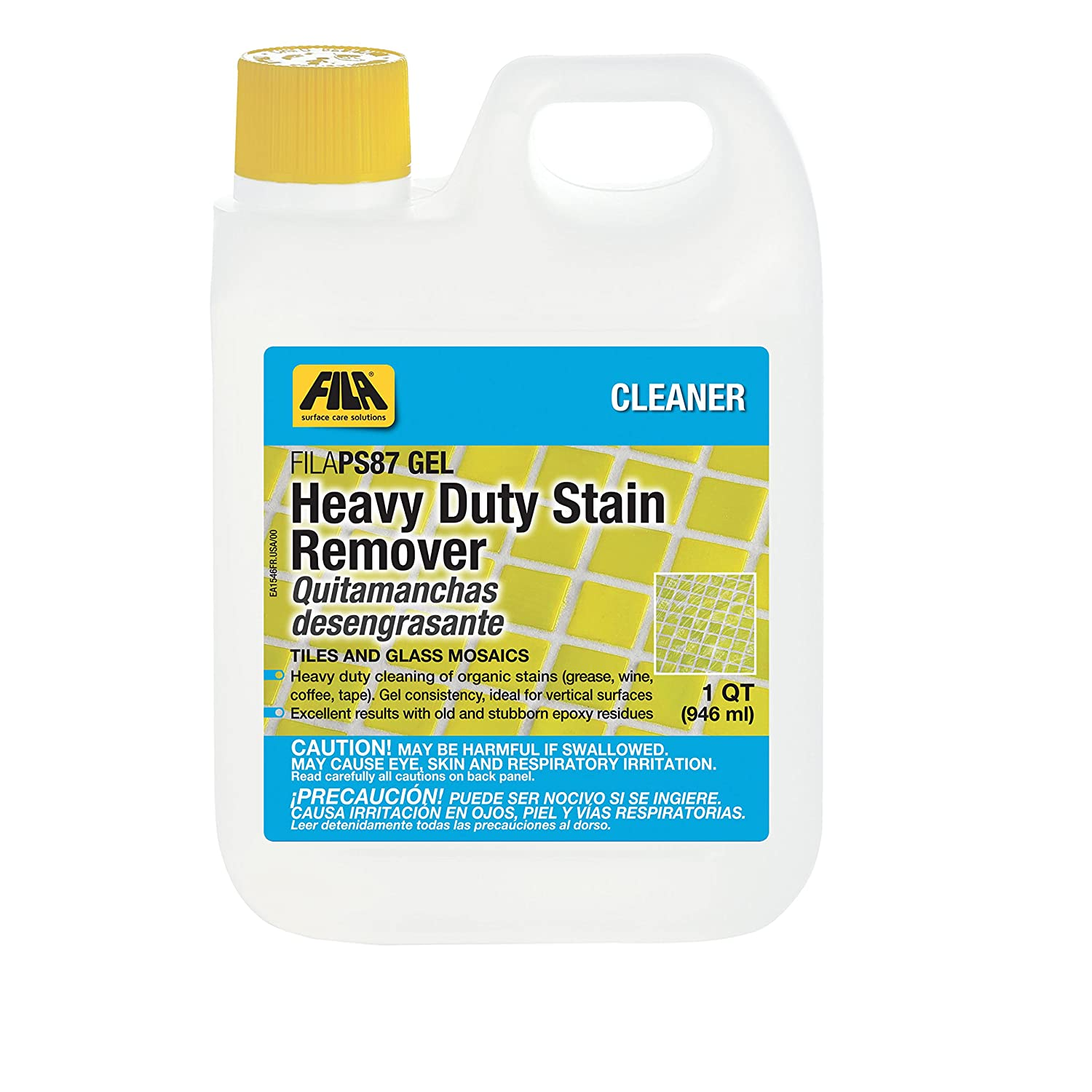 FILA Heavy Duty Stain Remover PS87 Gel 1 QT, Epoxy Grout Haze Remover, Stain Remover for Wine, Grease, Coffee and other food stains, ideal for Porcelain Tile, Ceramic Tile, Glass Mosaic. 44010312