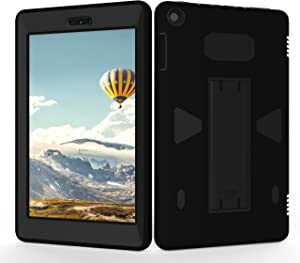Teenystar Case for Amazon Fire HD 8 (2017 7th Generation),[3 IN 1] Shock Proof High Impact Hybrid Drop Proof Armor Defender Protection Cover Built With Stand for All-New Fire HD 8 Tablet (Black/Black)