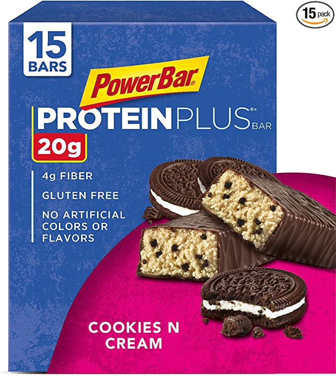 Amazon.com : PowerBar Protein Plus Bar, Cookies & Cream, 2.15 Ounce (Pack of 15) : Breakfast Energy And Nutritional Bars : Grocery & Gourmet Food