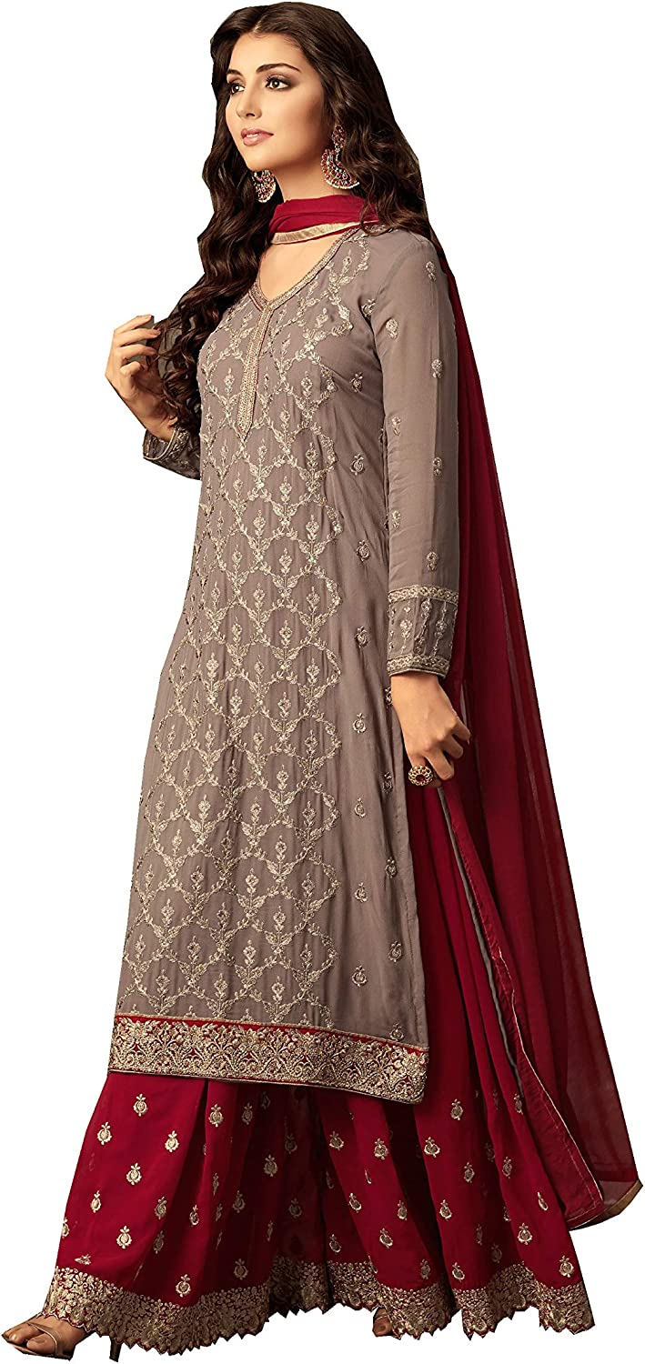 Amazon Com Delisa Readymade Eid Special Indian Pakistani Party Wear Palazzo Style Salwar Kameez For Women Clothing